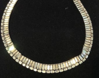 Vintage Rhinestone Necklace, Signed Jomaz, Choker, Sparkly, Collectible, 1950s