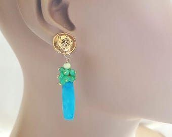 25% OFF SALE Turquoise and Chrysoprase Post Earrings Drop Earrings on Artisan Bronze Sheild Posts