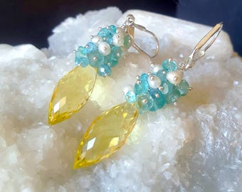 New! Yellow Topaz with Apatite Rondelles and White Freshwater Seed Pearls on Sterling Silver Gift for Her