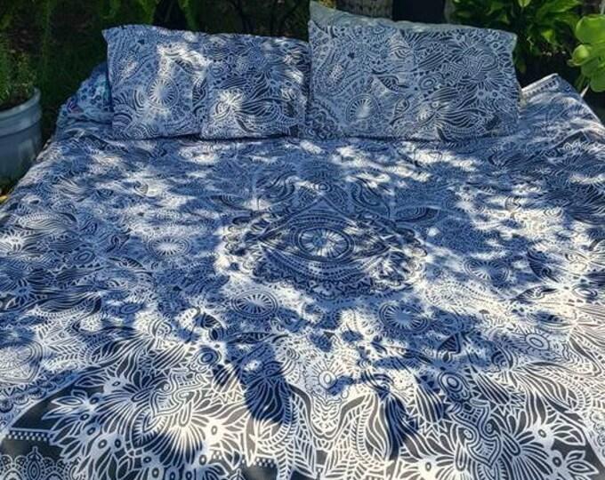 Grey and White Hamsa Hand Duvet Cover Mandala Tapestry Boho Bedding with Matching Pillowcases Duvet Gypsy Bedding Dorm Room Beach Yoga