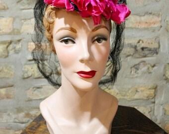 20% Off Sale // 1930s Hat // Parisian Floral Tilt Hat // vintage 30s tilt hat