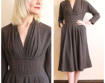 1950s Dress // Gracette Wool Dress // vintage 50s dress
