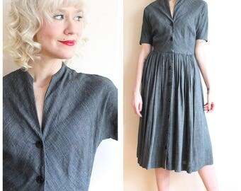 1950s Dress // Stormy Grey Rayon Dress // vintage 50s dress