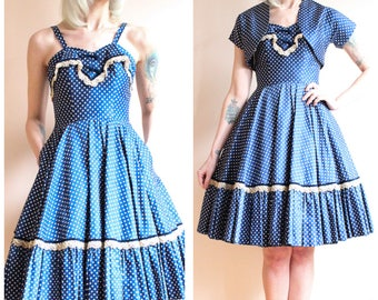 1950s Dress // Fashion Forecast Polka Dot Dress & Bolero // vintage 50s dress