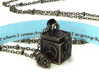 ON SALE Graduation Jewelry / Graduation Necklace / Graduation Gift / Peace Sign Locket / Secret Message Jewelry / Hidden Compartment Necklac