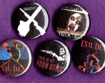 "Evil Dead 2 1"" Pins Buttons Badges Set of 5 Bruce Campbell Army of Darkness Ash"