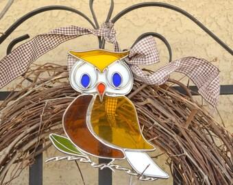 Owl suncatcher vintage stained glass window pendant window decor garden decor yellow brown blue home decor housewarming gift owls decoraton