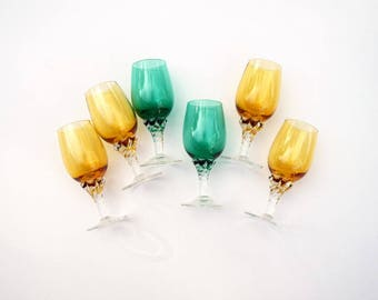 Vintage footed glasses amber green set of 6 aperitif cordial wine glasses vintage barware glassware drinking glasses Thanksgiving Christmas