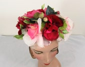 1950s-60s hat full of flowers - pink rose, green - one size