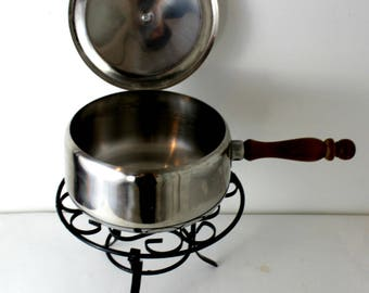Vintage Fondue Pot and Stand Stainless Steel
