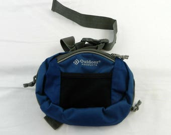 Vintage outdoor products fanny pack SOLD AS IS canvas zippered pouches blue and black