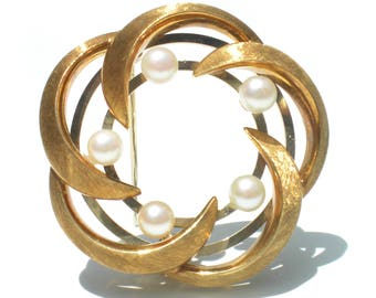 Vintage 18k Gold and Pearl Brooch Spiral - Vintage Fine Jewelry European 750 Gold