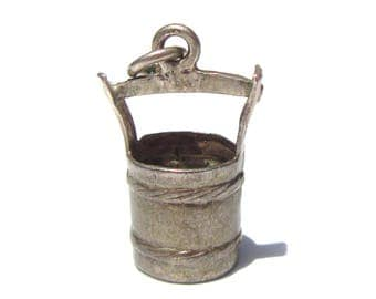 Sterling Silver Bucket Charm, Vintage Charm, Vintage Bracelet Charm, Water Bucket Charm
