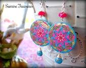 Mandala Earrings, Moroccan Ethnic Earrings, Genuine Turquoise Earrings, Hot Pink Chalcedony Earrings, Colorful Decoupage Earrings