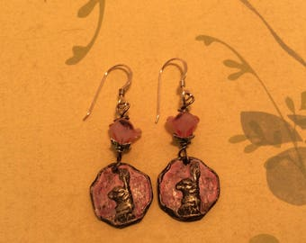 Pink Bunny Earrings. Jackrabbit Earrings. Artisan Earrings