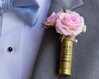 Shotgun Shell Wedding Boutonniere with Blush Pink Roses