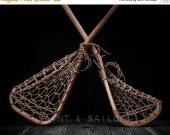 FLASH SALE til MIDNIGHT Vintage Lacrosse Sticks Upside Down Clasic Black Photo Print,   Sports Decor, Vintage Lax,  Lacrosse Art