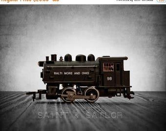 WEEKEND SALE Toy Train Print, Engine 98 on Grey Background, One Photo Print, Nursery Decor, Rustic Decor Toy Trains, Baby room ideas, Boys R