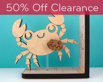 SALE! CLEARANCE 50% OFF! Crab Wooden Bookend: Ocean Sealife Baby Nursery Kids Book Holder Decor