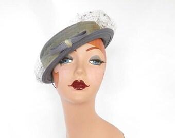 Blue boater hat, vintage tilt hat, 1940s womans