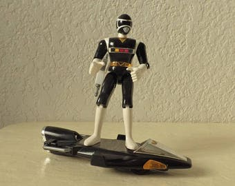 Power Rangers in Space, Black and Silver Galaxy Glider w/Black Ranger, 1997. Near Complete, Very Good Condition. Bandai