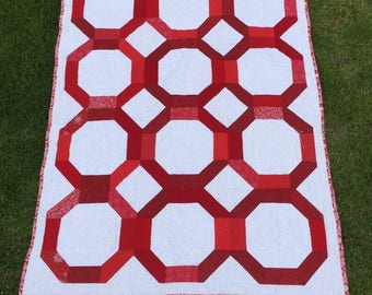 Red and White Quilt Twin Lap
