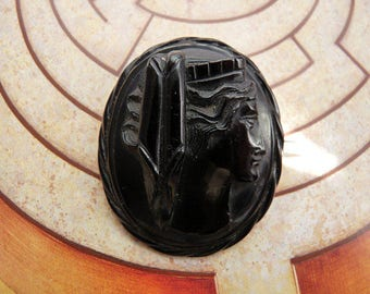 English Whitby Jet Antique Victorian Carved Etruscan Classical Roman Goddess Black Mourning Brooch