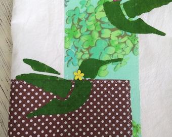 Tea Towel, Flour Sack with Green Hummingbird Stencil