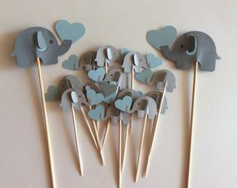 Elephant cupcake topper - elephants cake topper elephant cupcake topper