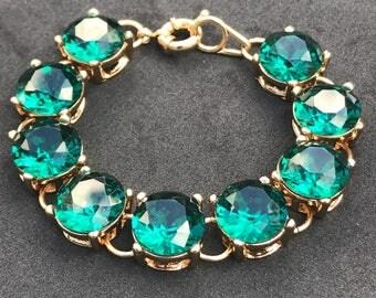Stunning Green Authentic Crystal Bracelet Trendy Wedding Bracelet Fun Preppy Emerald Color Bracelet Dark Green
