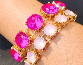 Stunning bright pink crystal and opal pink crystal bracelet with beautiful crystal bridesmaid bracelet wedding jewelry hot pink baby pink