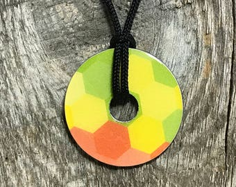 Metal Washer Jewelry, Bright Yellow Geometric Pendant, Yellow and Green Necklace, Bright Metal Washer Necklace