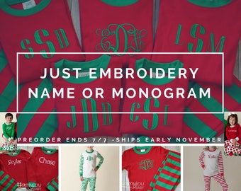 PREORDER - Solid Top with Pants - Monogram/Initial/Name Christmas Pajamas - Baby, Toddler, or Child Jammies - PJs - Personalized