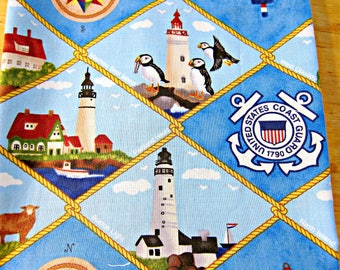 Fabric Destash, Blue Cotton, Nautical Fabric, Coast Guard, Maine, Lighthouse Fabric, Puffins, Bird Fabric, Quilting Fabric, Military Fabric