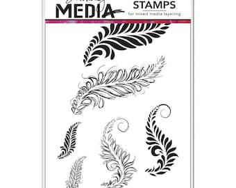 Sketched Layered Fronds Dina Wakley Media Stamps Set