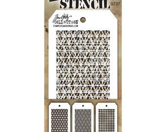 Tim Holtz Mini Stencil Set #27 - Stampers Anonymous Set of 3 mini stencils - Mixed Media Texture Stencils