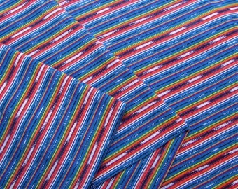 Guatemalan Fabric in Peacock Blue and Coral Ikat Stripe