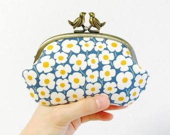 Retro folk floral frame coin purse with birds - pop floral, blue and white