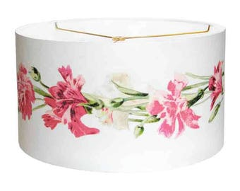 SMALL Carnation Boutique Shabby Chic Lampshade - Pink Flower Lampshade 7 8 9 Inch Drum Lamp Shade - Custom Linen Lamp Shade
