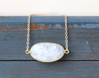 Gold Horizontal Moonstone Oval Gemstone Bar Necklace // Simple everyday layering jewelry