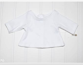 """18"""" Doll Size Plain White Tee *Special Price* - White tee shirt for dolls, many available, nelle*s, white stretch knit with velcro-closure"""