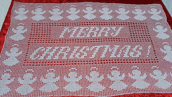 Merry Christmas crochet table runner, Angel tablecloth, Christmas table centerpiece, Diningroom tablecloth, Housewarming gift, Wedding gift