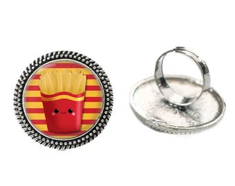 Kawaii French Fries with Red and Yellow Stripes Glass 25mm Cabochon Silver Double Rope Adjustable Ring