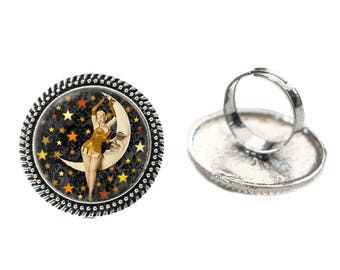 Vintage Pinup and Moon Glass 25mm Cabochon Silver Double Rope Adjustable Ring