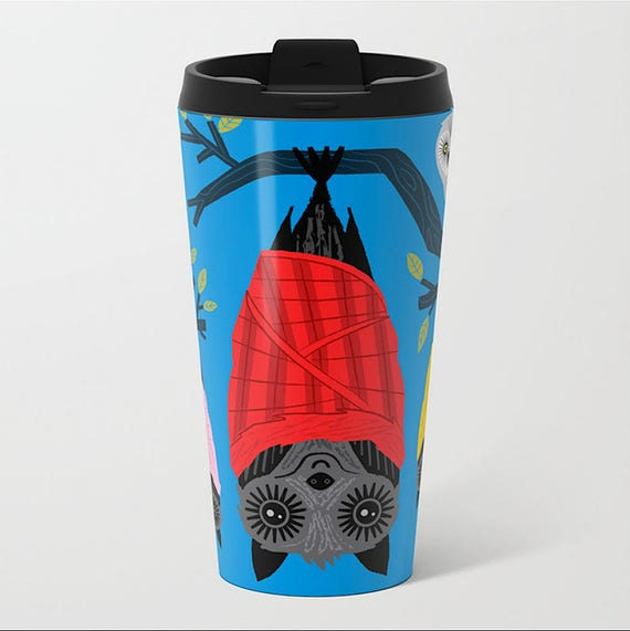 The Halloween Series - Bats in Blankets - Metal Travel Mug 15Oz - by Oliver Lake iOTA iLLUSTRATiON