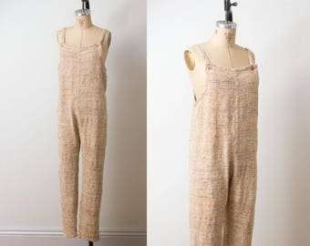 1970s Indian Cotton Jumpsuit / 70s Woven Overalls