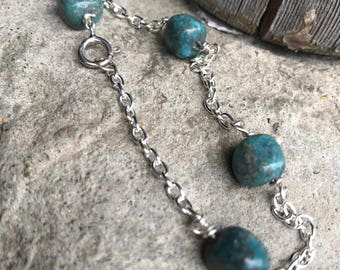 Turquoise stone beads and sterling chain bracelet