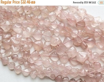 ON SALE 55% Rose Quartz Beads, Rose Quartz Plain Heart Gemstones, Rose Quartz Briolettes, Quartz Necklace, 10-19mm,