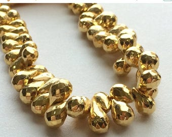 ON SALE 55% Pyrite, Mystic Golden Pyrite, Faceted Briolettes, Gold Pyrite Drop Beads, Gold Pyrite Necklace, 28 Pieces, 8x6mm Each, 4 Inch St