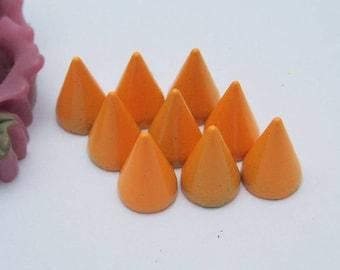 20 metal studs, orange Spike Stud, colorful Metal bullet Spikes, Bullet Studs, Screwback spkes, cone studs, jewelry stud decoration 7x10mm